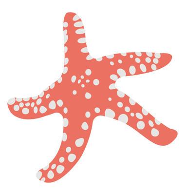 一个粉红色的白色斑点海星平面矢量图标