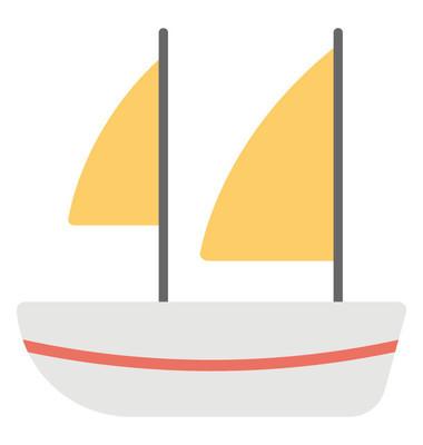 帆船的平面矢量图标