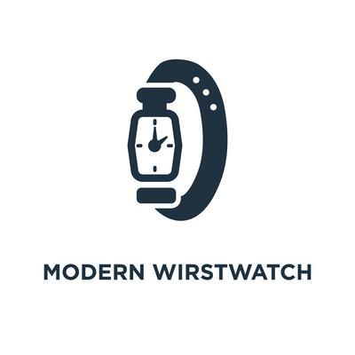 现代 Wirstwatch 图标。黑色填充矢量图。白色背景上的现代 Wirstwatch 符号。可用于网络和移动