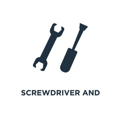 螺丝刀和斗牛扳手图标。黑色填充矢量图。在白色背景上的螺丝刀和斗牛扳手符号。可用于网络和移动
