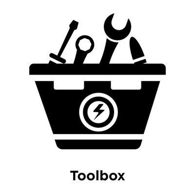 Toolbox icon vector isolated on white background, logo concept of Toolbox sign on transparent background, filled black symbol