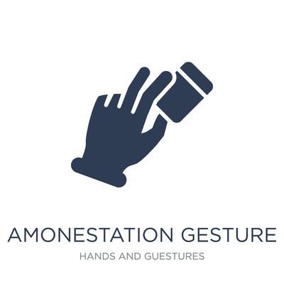 """""""通知"""" 手势图标。时尚的平面矢量 amon举 n 手势图标在白色背景从手和客人汇集, 向量例证可用于网络和移动, eps10"""