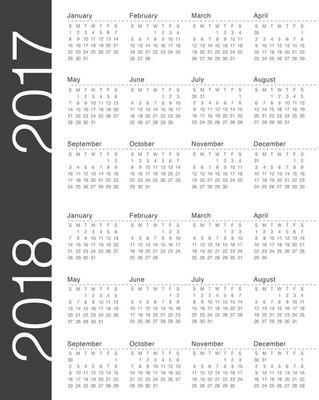 简单为 2017年和 2018 年的日历模板