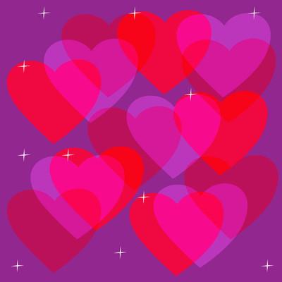 红色的心,在紫罗兰色的背景