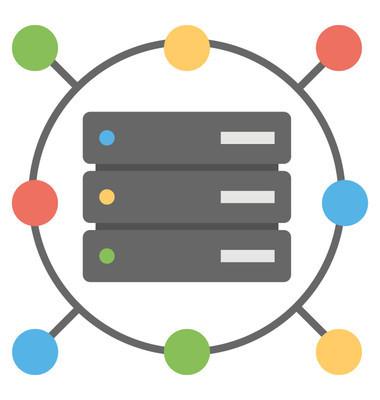 服务器管理和管理的平面设计图标