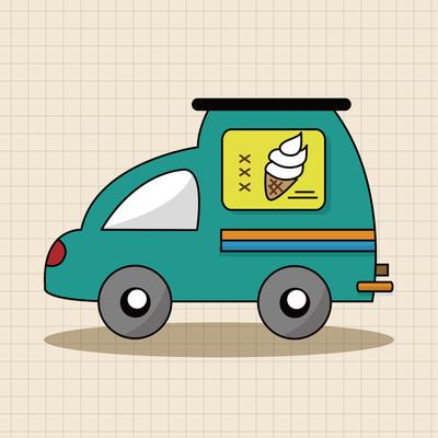 运输车主题元素矢量、 eps