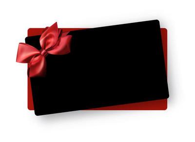 黑色问候或礼品卡模板与红色缎弓。向量