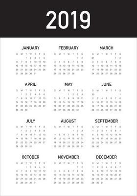 年2019月历矢量设计模板, 简洁整洁的设计