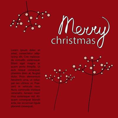 圣诞贺卡模板暗红色。词快乐手写