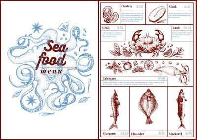 餐厅、 咖啡厅海鲜菜单,模板设计。可作为菜单,晚餐卡设计。复古手绘制的插图