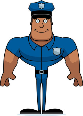 A cartoon police officer smiling.