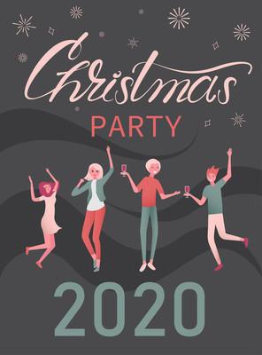 圣诞晚会2020年海报与跳舞的人