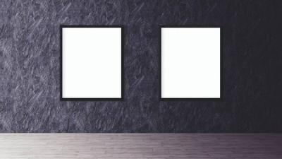 美白隔离与黑色框架样机的海报