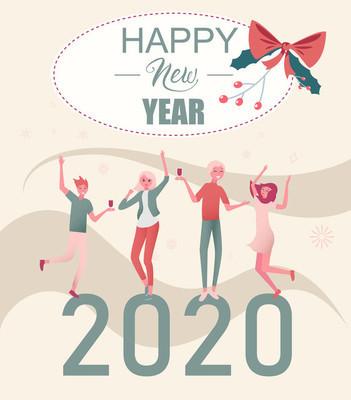 快乐新年2020卡与快乐的人