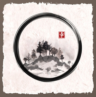 Island with trees in black enso zen
