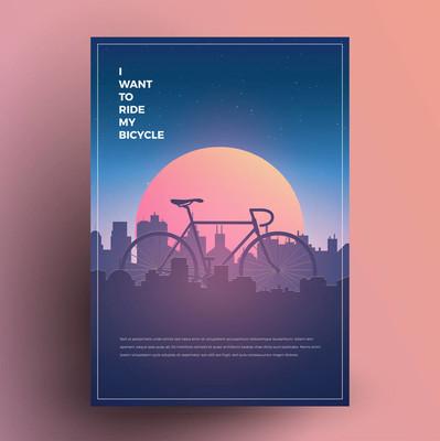 我想骑我的自行车。现代简约海报, 印刷品, 传单, 横幅模板为您的活动, 党或任何需要。矢量插图