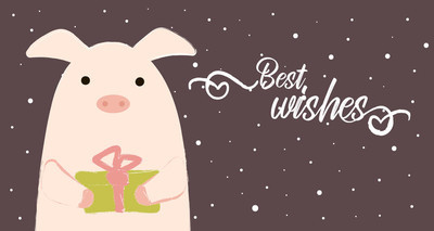 pig winter with gift best wishes 2019 cute