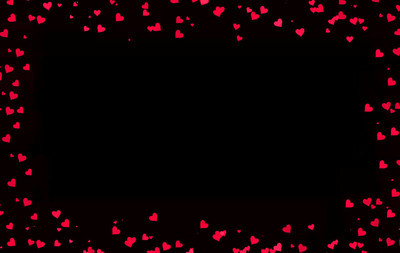 Valentines day card with red hearts on black background