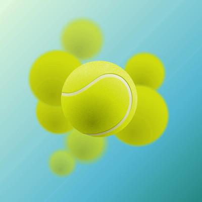 蓝色背景网球球