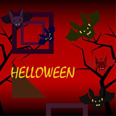 万圣节蝙蝠在红色背景, 万圣节海报, 向量例证