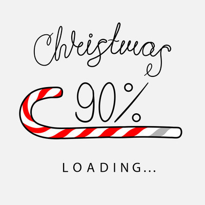 Christmas 90 loading creative poster with progress bar.