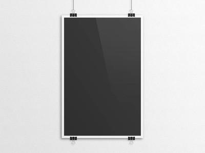 黑色 3d 插图海报样机与纸夹挂
