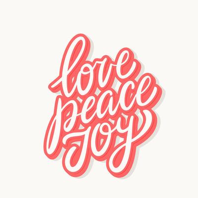爱和平的喜悦。矢量刻字