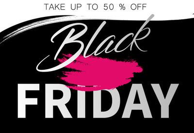 黑色星期五销售促销海报与粉红色的笔触设计