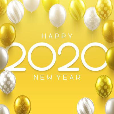 新年快乐2020黄色贺卡与闪亮的气球