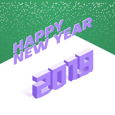 快乐新年2019创意3d 海报与雪