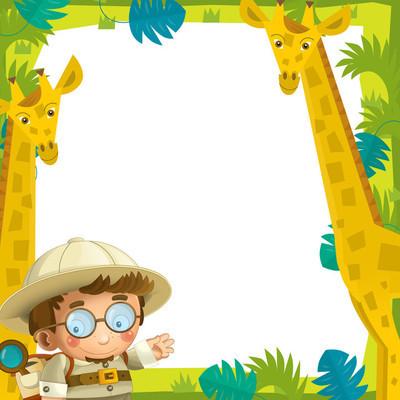 儿童的卡通搞笑架-野生动物-图