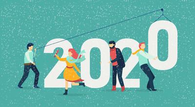 2020年新年卡, 有数字和人