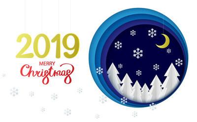 圣诞快乐2019年海报与冷杉树和雪花