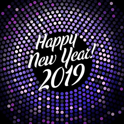 明亮的紫色新年快乐2019年节日海报