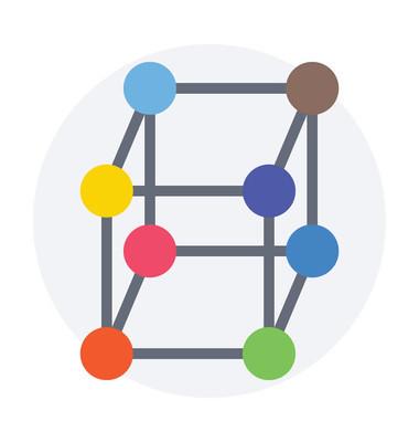 多维数据集平面矢量图标