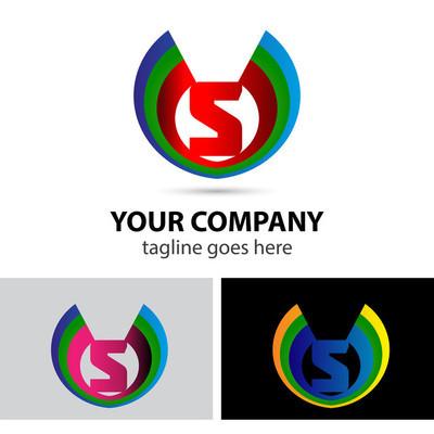 Logo 字母 S 公司矢量设计模板
