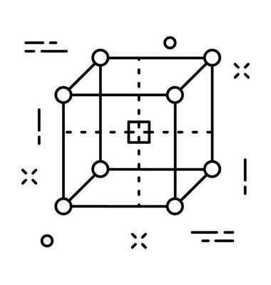 多维数据集线向量图标