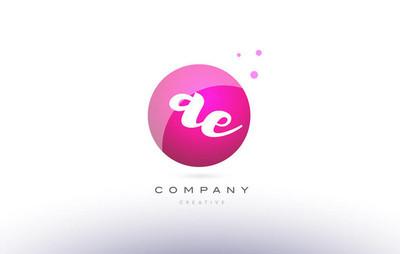 Ae a d  sphere pink 3d hand written alphabet letter logo