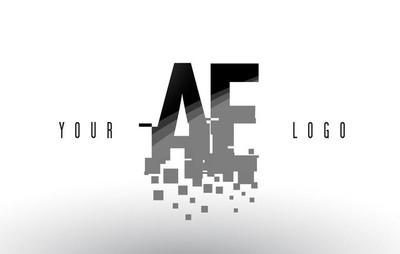 Ae D 像素字母徽标与数字粉碎黑色方块