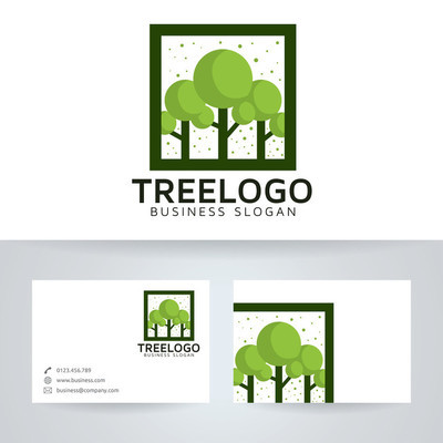 树矢量 logo 与名片模板