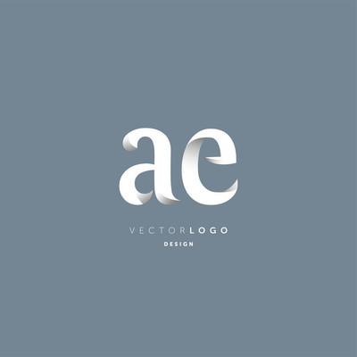 联合 Ae 字母徽标、名片模板、矢量