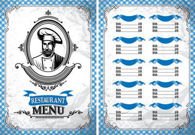 中与厨师的复古风格的餐厅,菜单模板