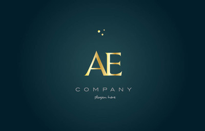 ae d 金金色豪华字母表字母标志图标模板
