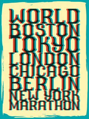 世界马拉松系列复古海报