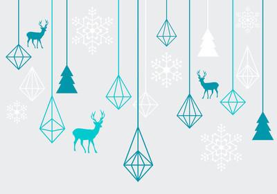 几何的圣诞饰品、 矢量