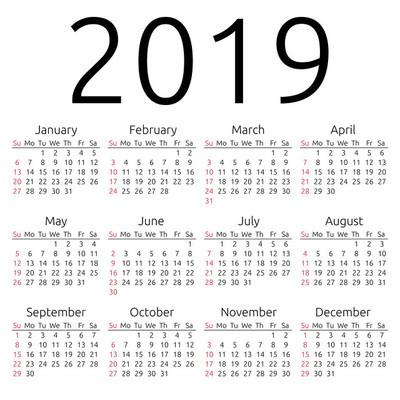 矢量日历 2019 年周日