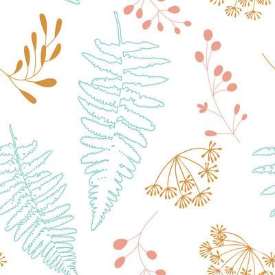矢量插图设计的风格化浆果, 蕨类树叶和莳萝花。植物无缝花纹