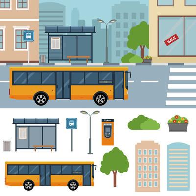 公交车在小镇的街道上