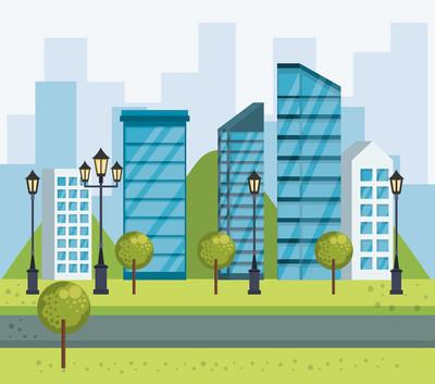 公园城市景观场景