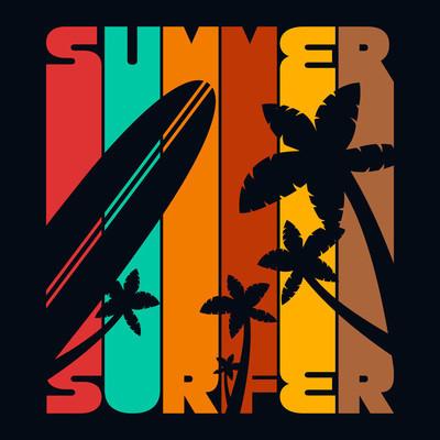 夏季冲浪 t 恤排版图形,矢量图